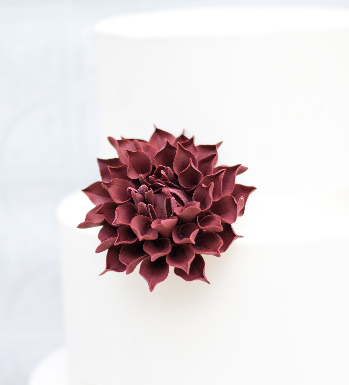 burgundy dahlia gumpaste sugar flower