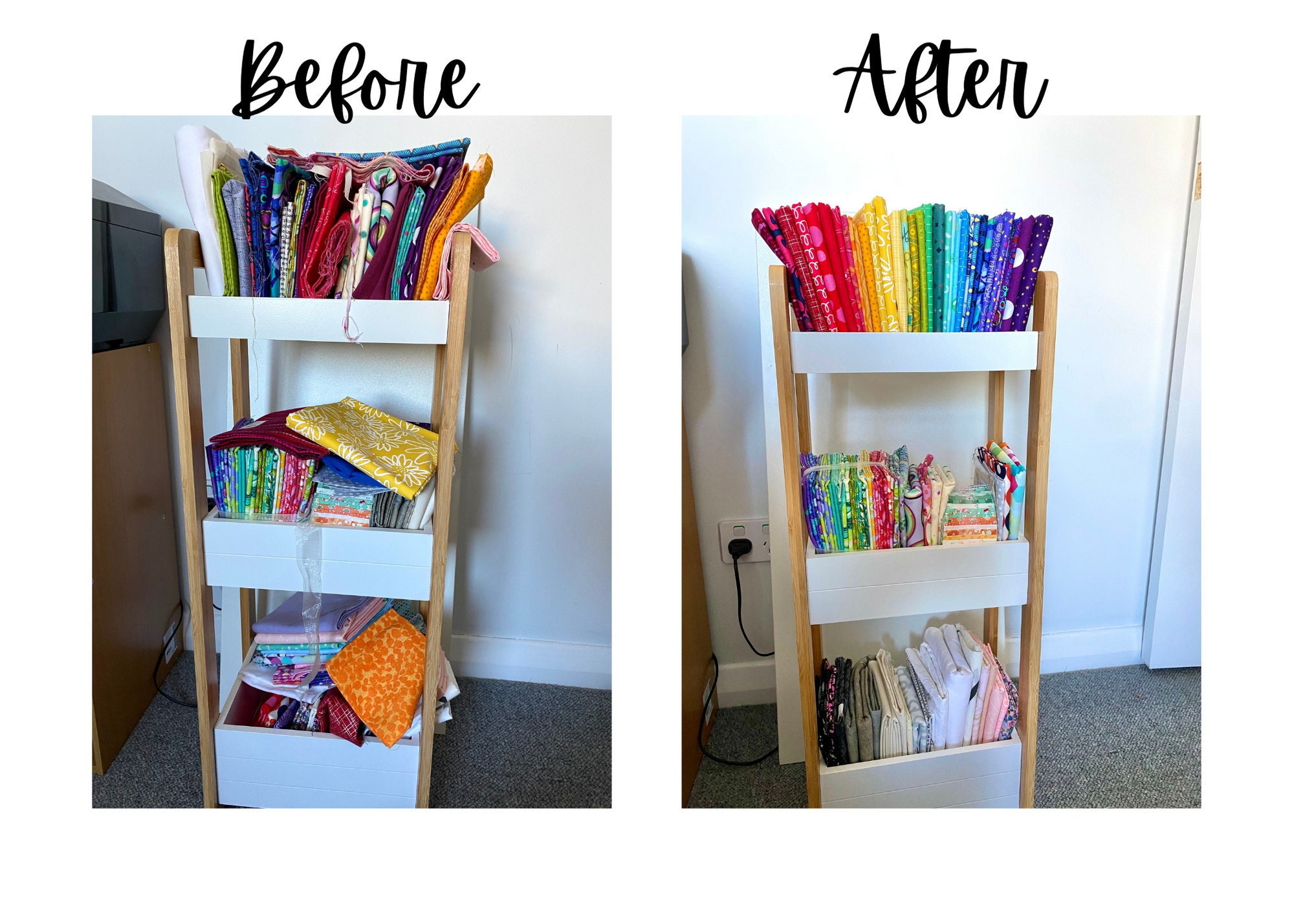 Photos of my own quilting fabric stash, before I organised it and after it has been tidied up and arranged into a pretty rainbow.