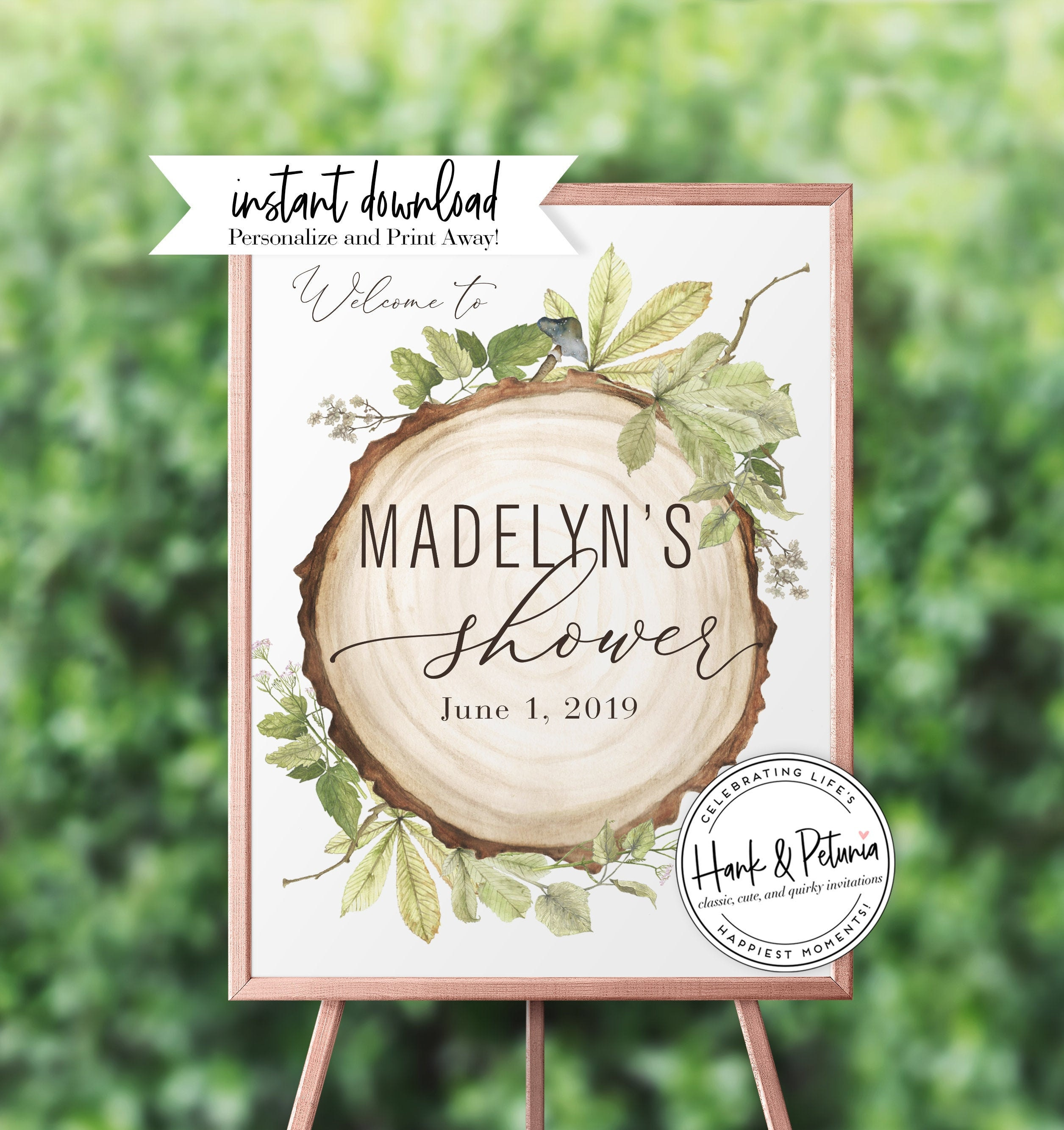 Rustic Woodland Baby Shower Welcome Sign