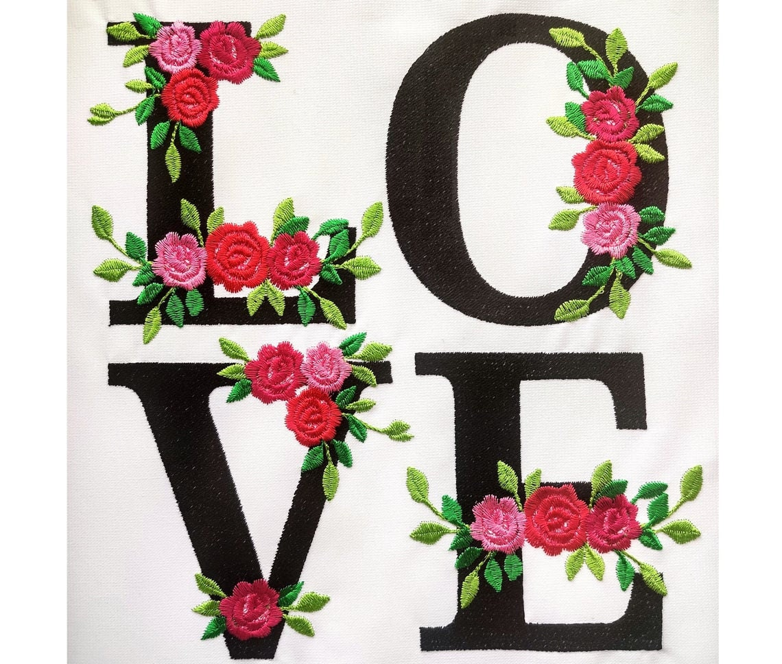 roses floral font embroidery