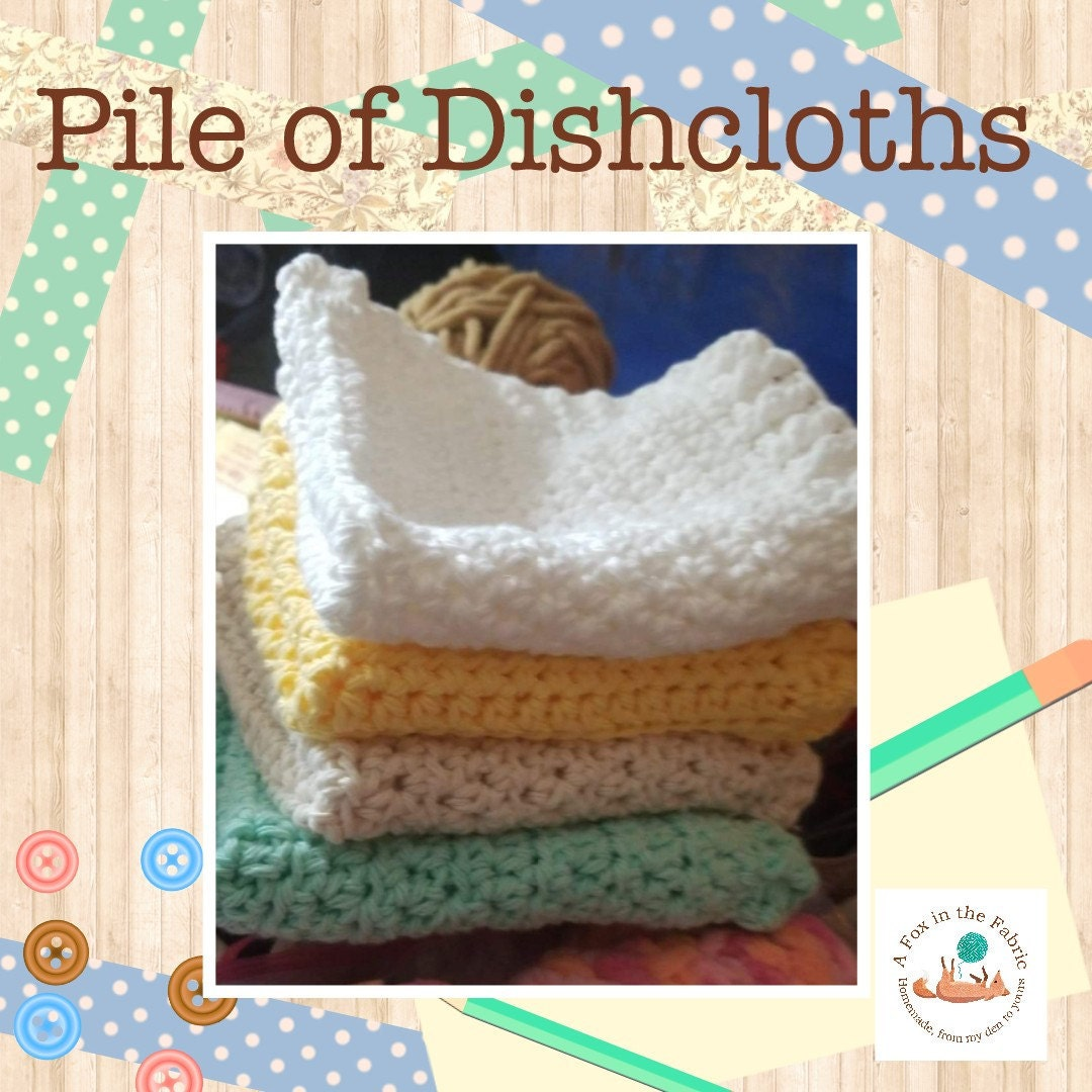 Cotton Dishcloths With Ribbed Edges