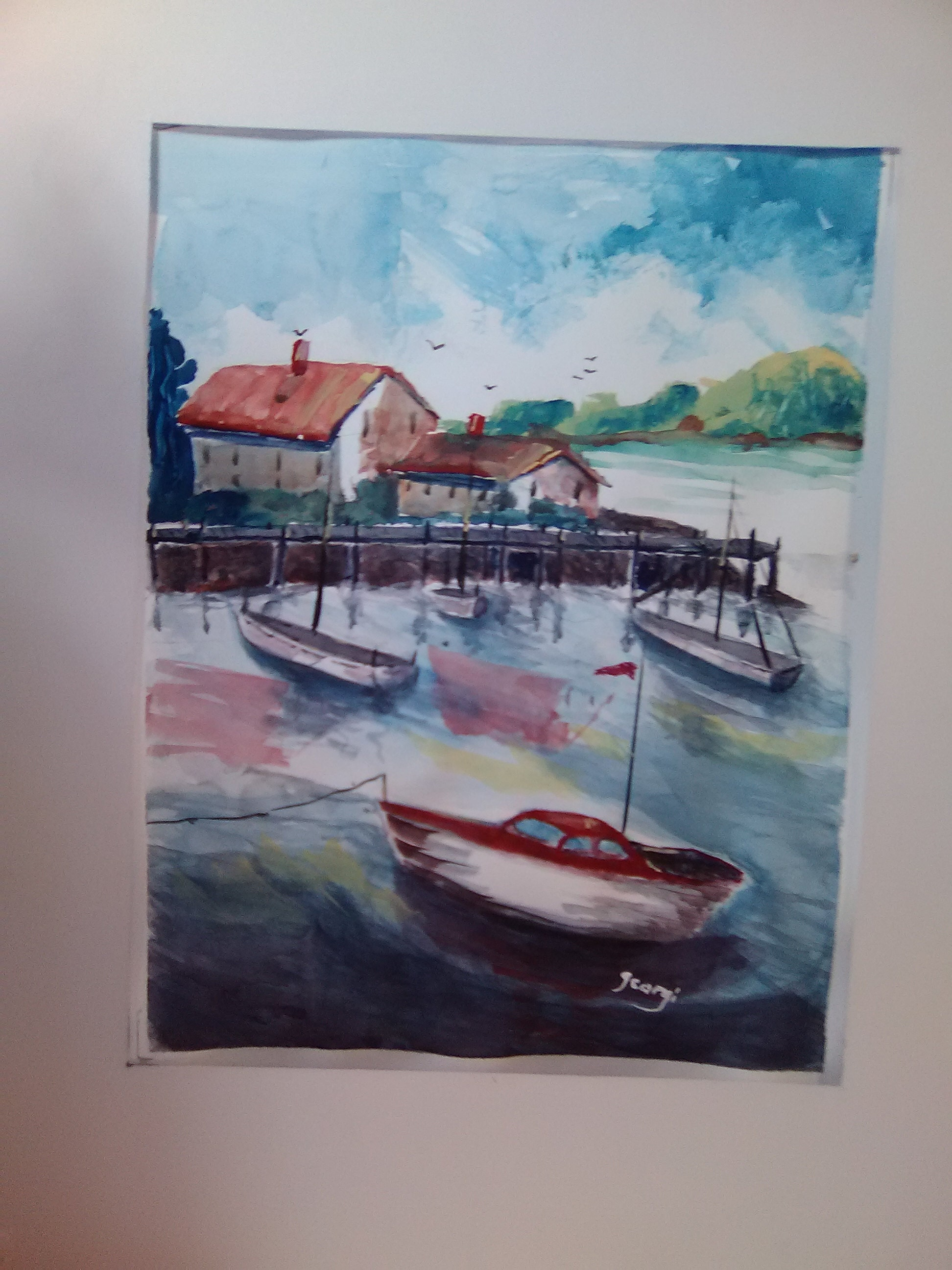 Summer Fun, Boating , Sea Side , Watercolor Painting