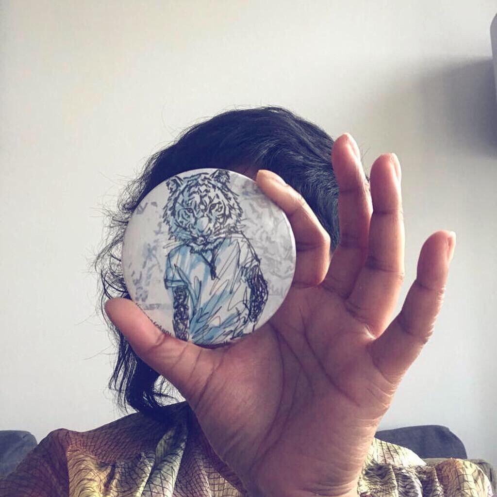 Mr Tiger hand held mirror