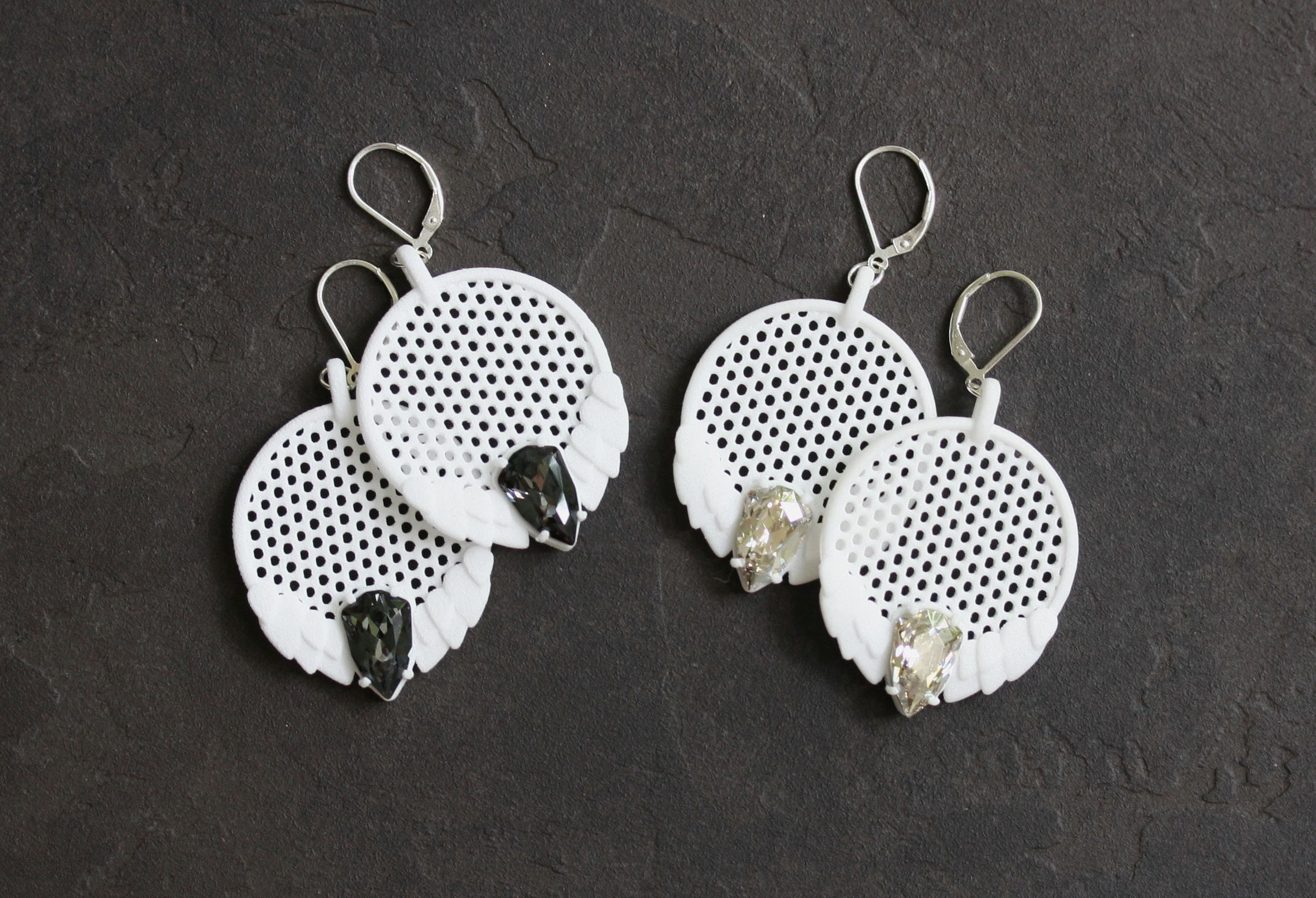 3D Printed White Earrings with Swarovski Crystals