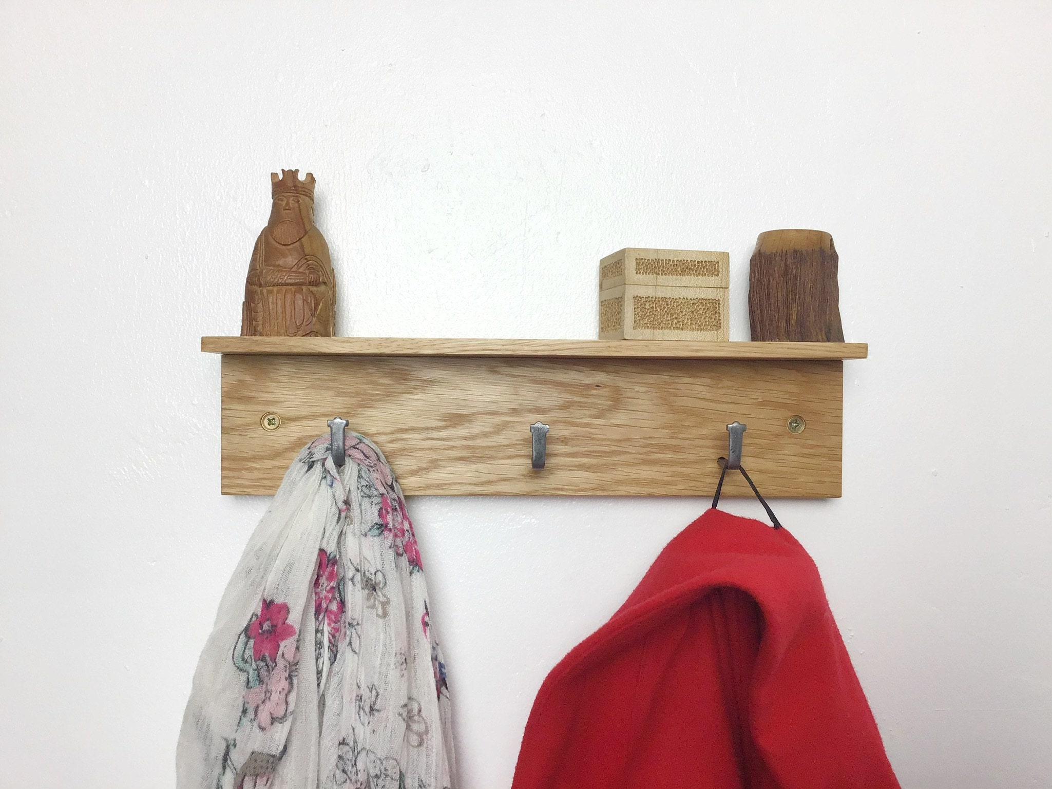 solid Oak wood 3 hook Coat Rack 33cm wide - gorlech UK