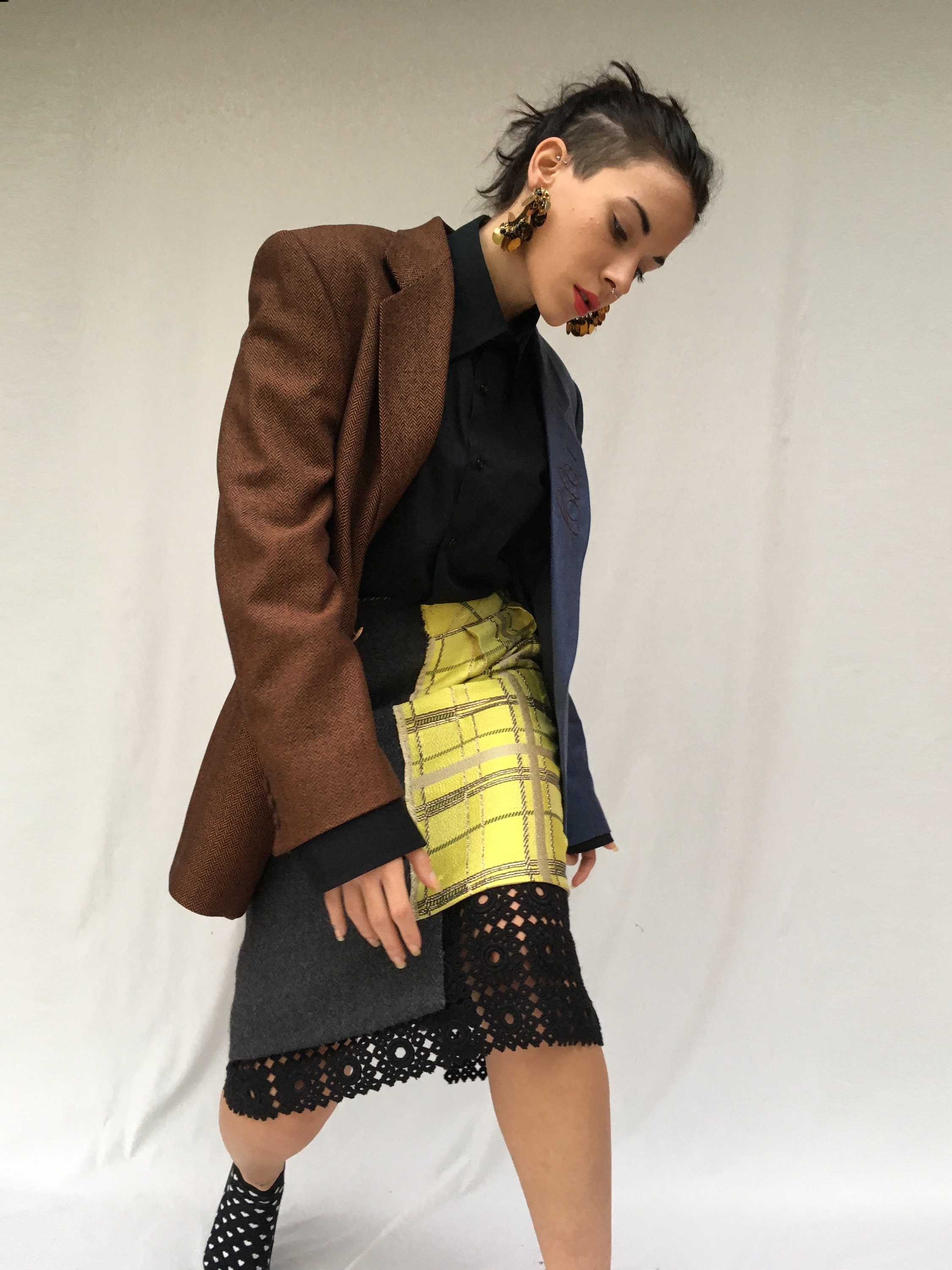deconstructed skirt and jacket from selected vintage items. sustainability in the creative recovery of high quality waste clothing LOLA DARLING