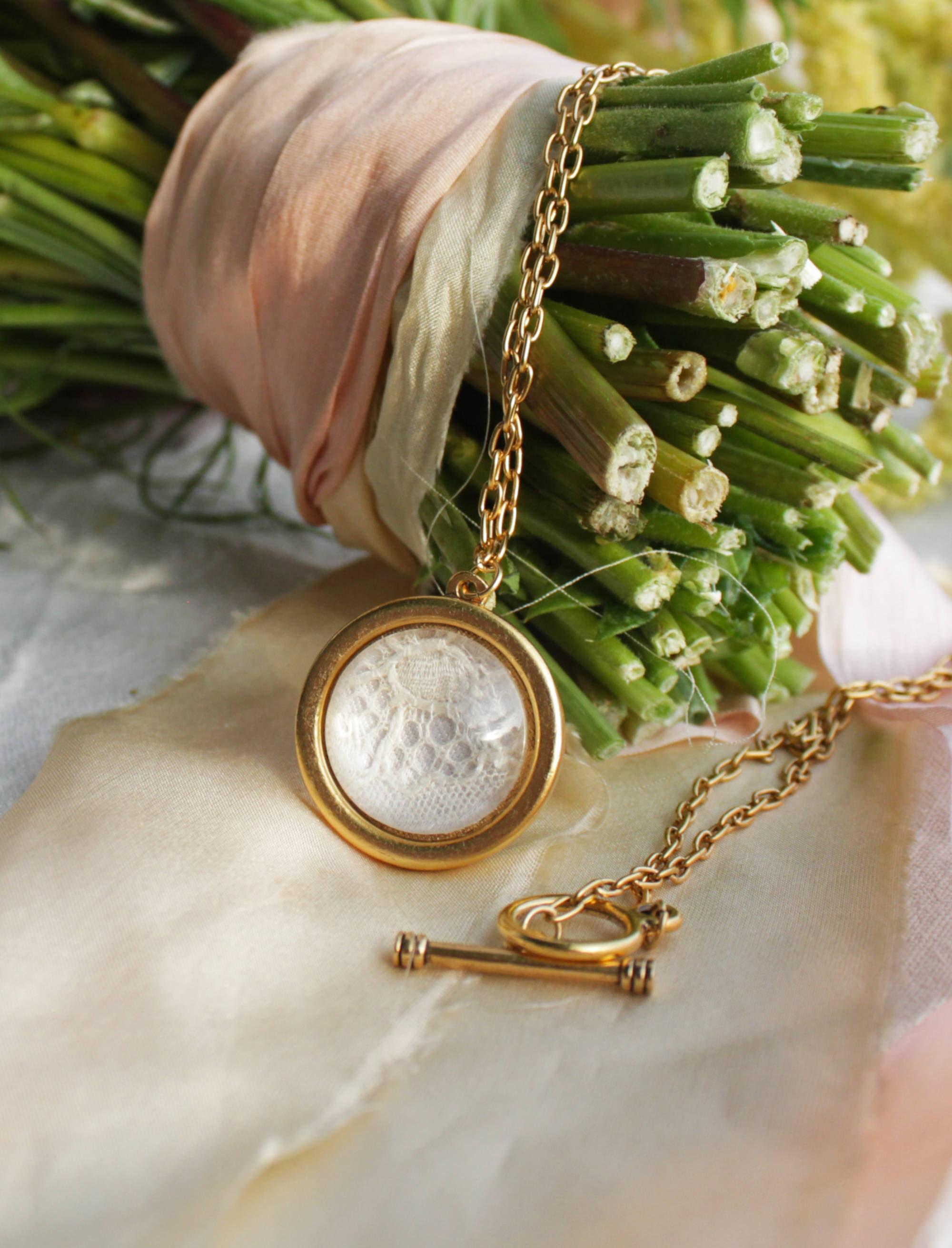 wedding dress keepsake lace fabric necklace