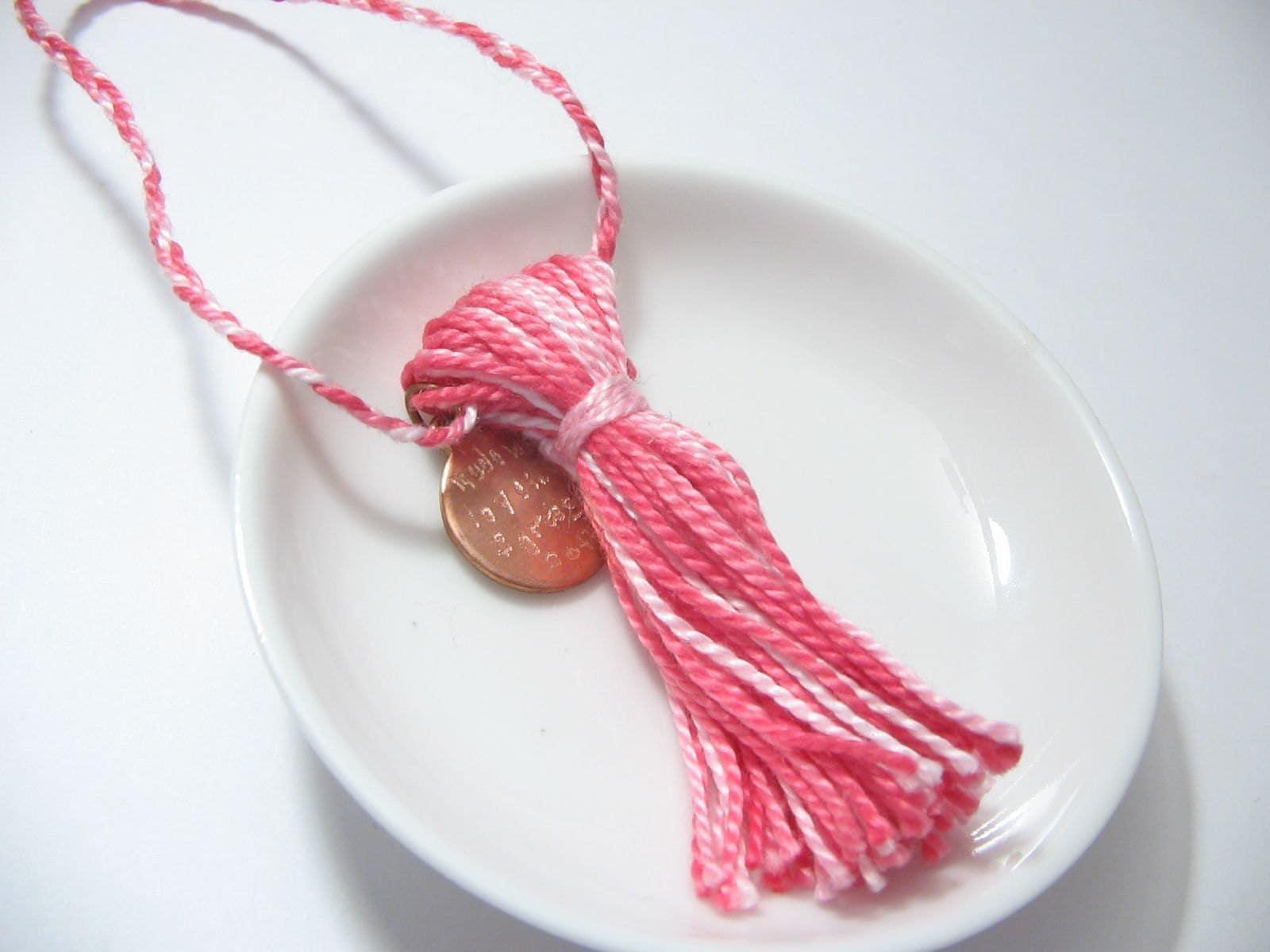 Pink striped childs graduation tassel from Lizbeths Garden