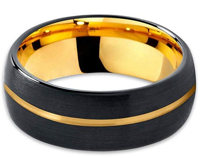 Black Tungsten Carbide with Off-Set 24K Gold Plated Inlay