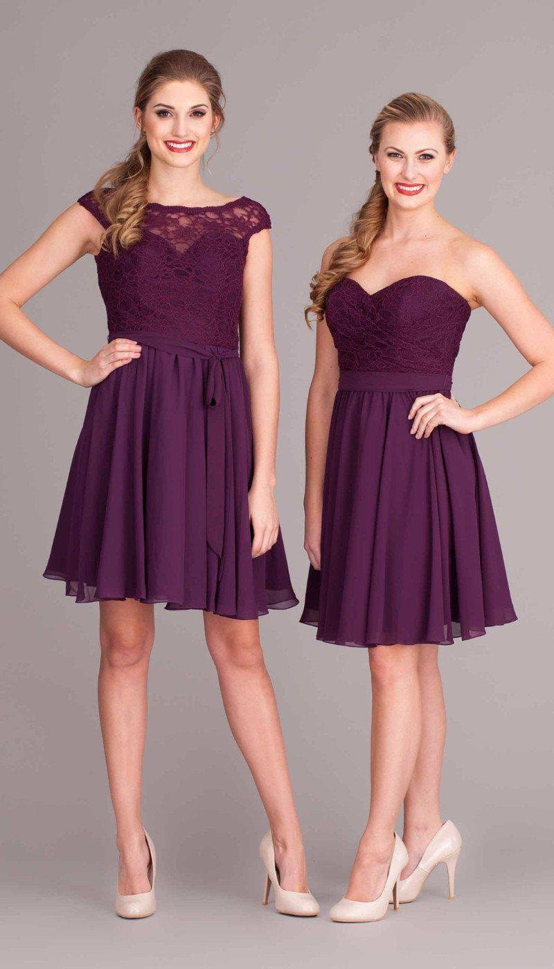 two women in burgundy dresses one cap sleeve lace and one sleeveless