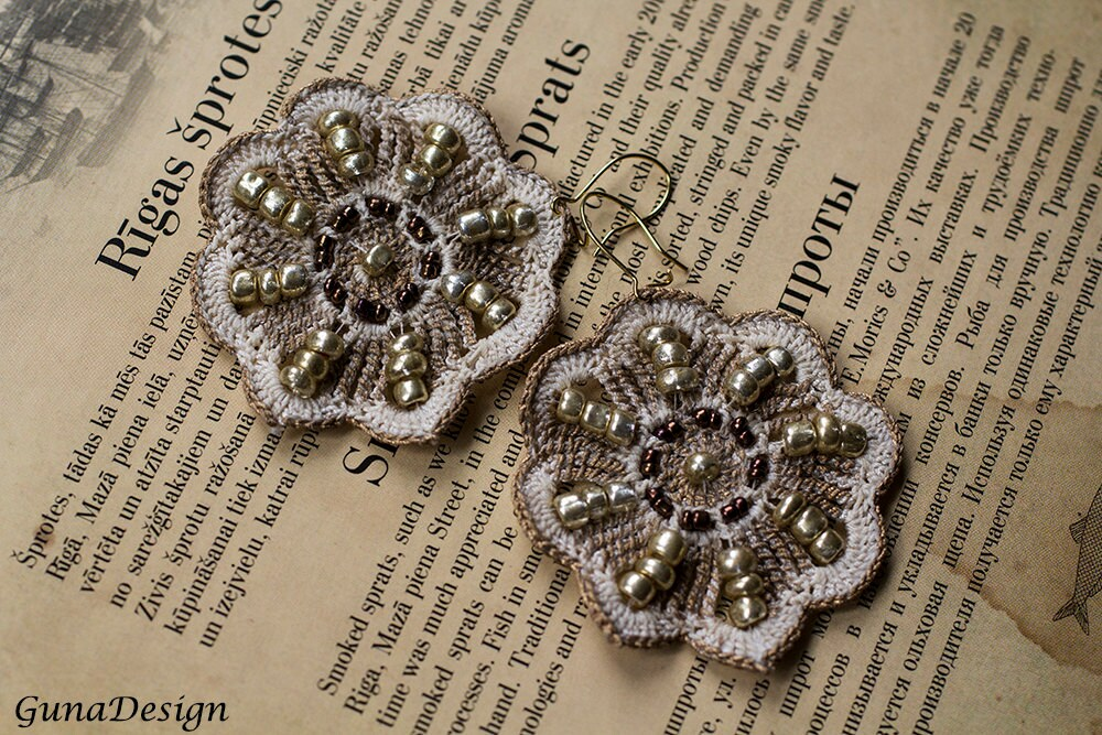 crochet lace flower earrings