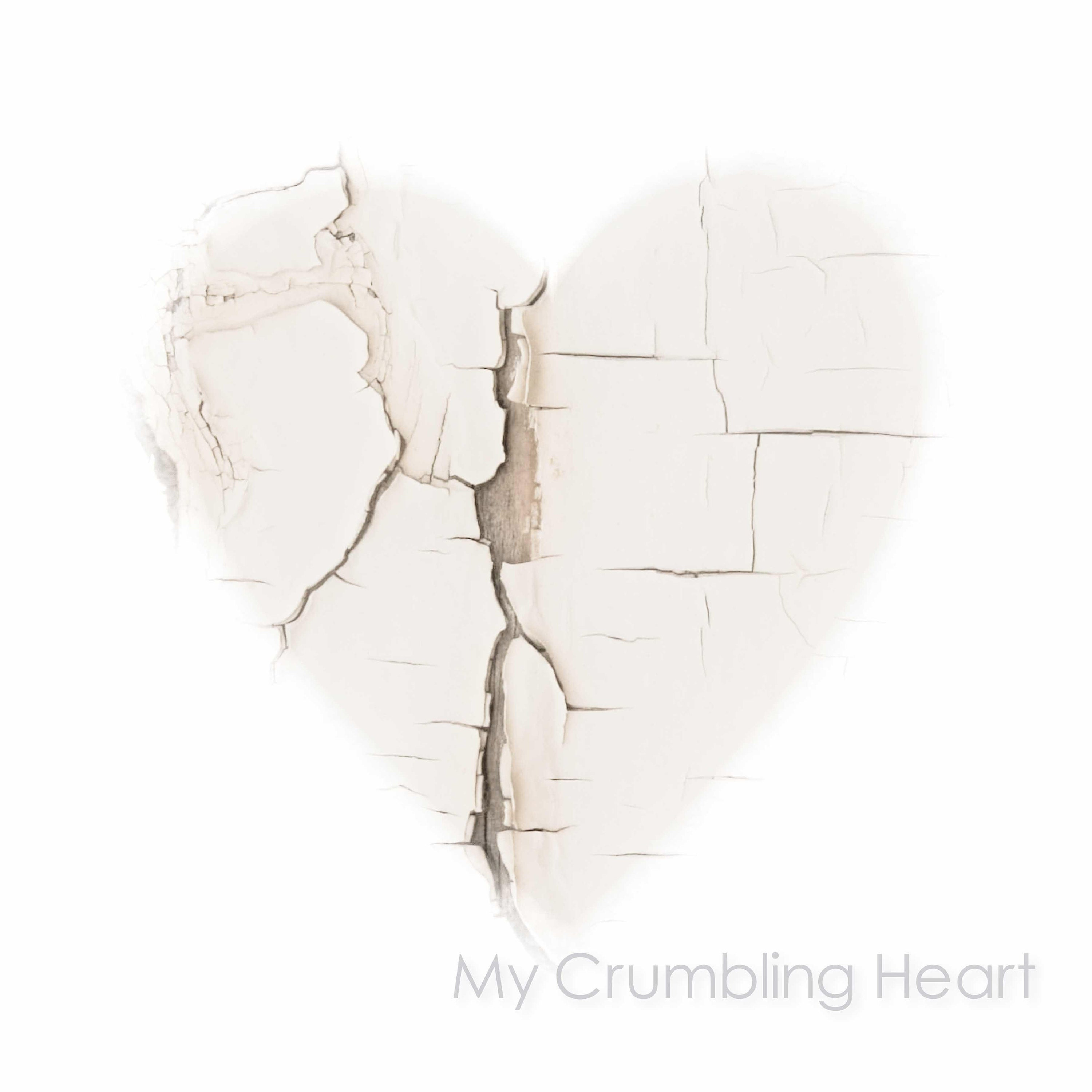 delicate white heart fine art print- unframed limited edition prints and ready to hang wall art- white heart with peeling paint textures- available in a range of sizes and finishes including  canvas, art panel and box frame