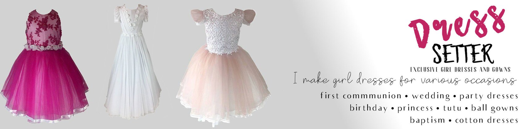 Exclusive Girl Dresses and Gowns by DressSetter on Etsy
