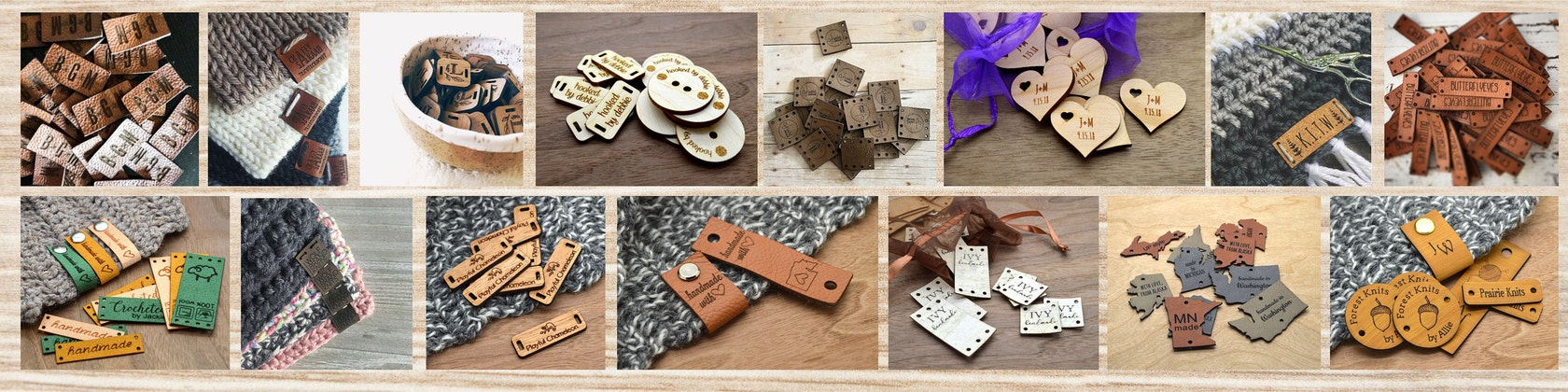 knitting Wooden Buttons Wooden craft sew on labels product Tags X 40 Crochet