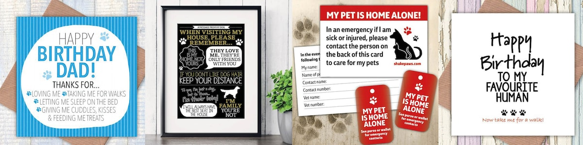 photo about My Dog is Home Alone Card Printable identified as WeAreShakePaws