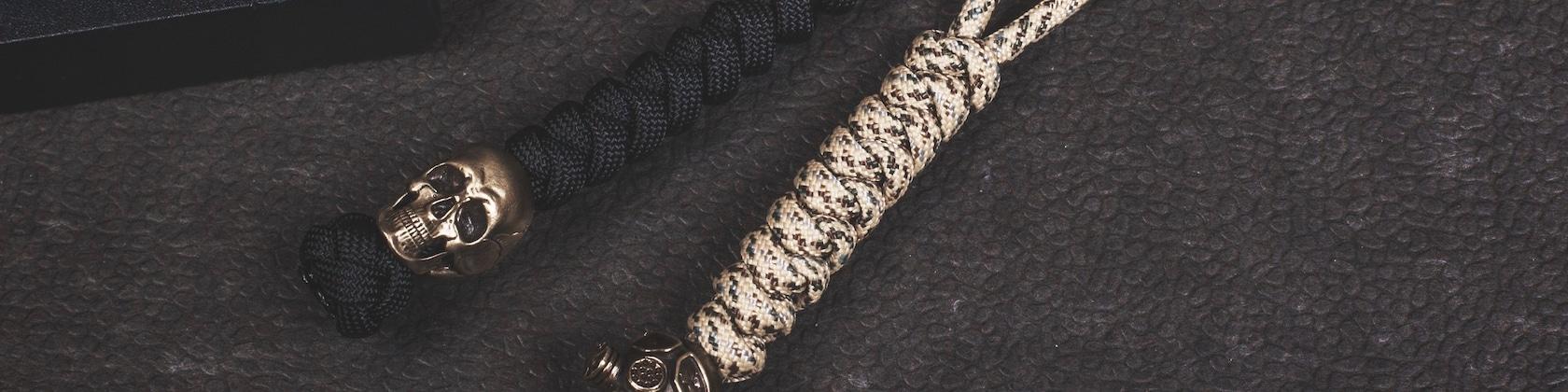 Cuivre Citrouille couteau Perles Laiton Crâne Perles Crâne Keychain Pendentif EDC Paracord