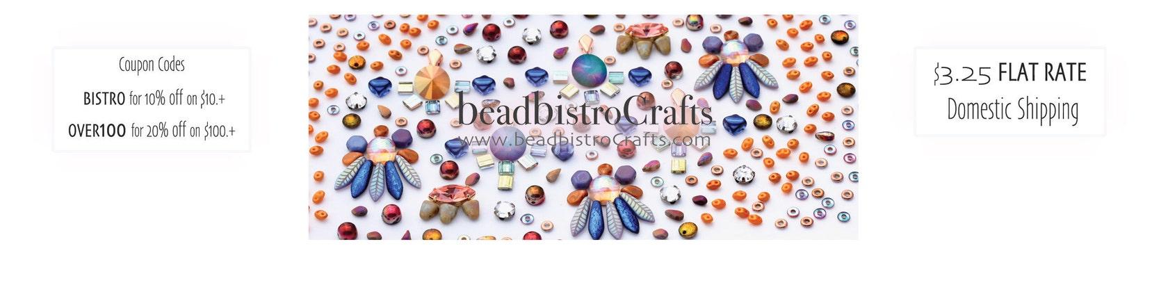 2-hole/ pressed CZECH SEED beads & SWAROVSKI by BeadBistroCrafts