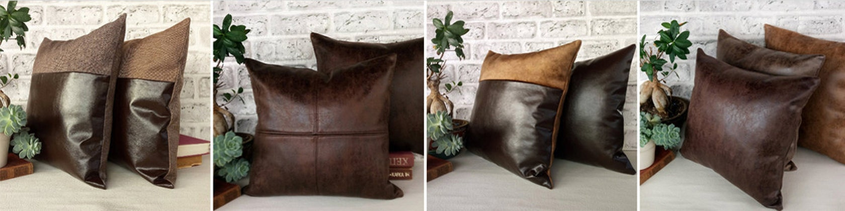 Square Faux Leather Pillow