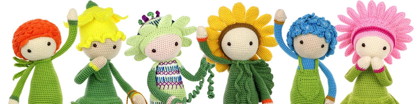 Patrones de crochet para flores de muñecos amigurumis por Zabbez