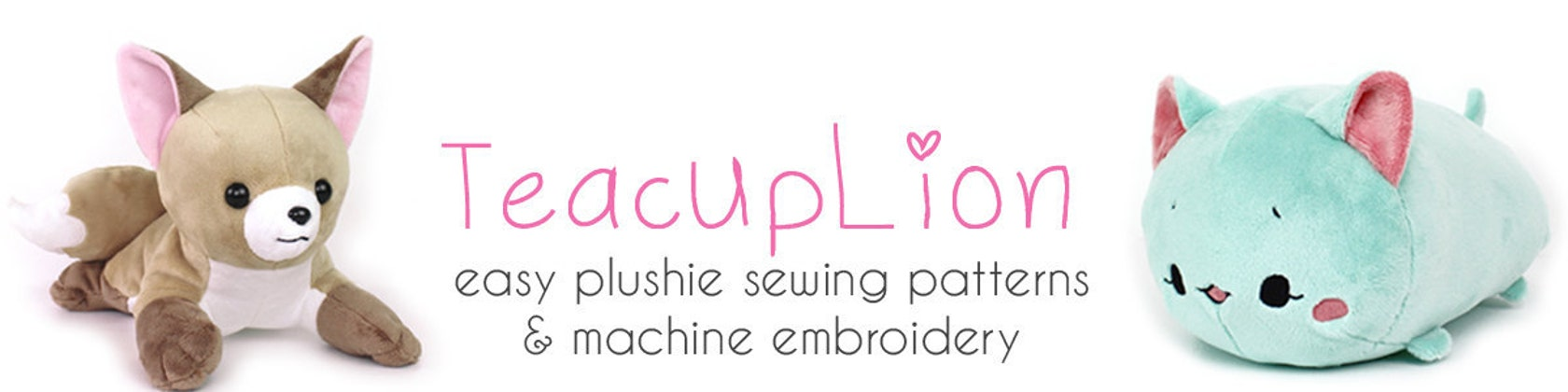 Easy kawaii plushie sewing and embroidery ITH por TeacupLion
