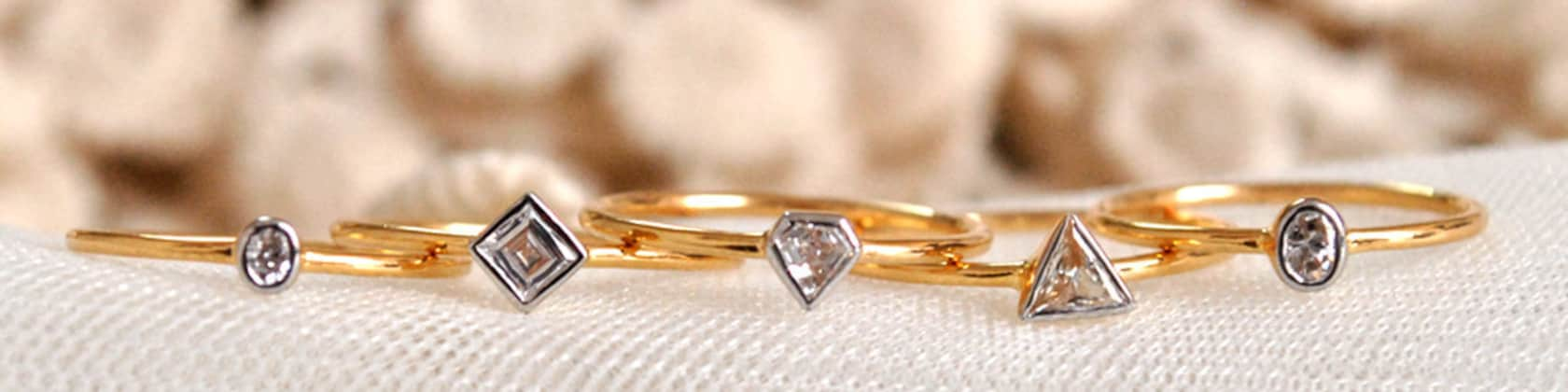 Fine Rings Beautiful Wedding Ring Trio 3 Rings Delicate Jewelry New Gold Plated T 60 Comfortable Feel