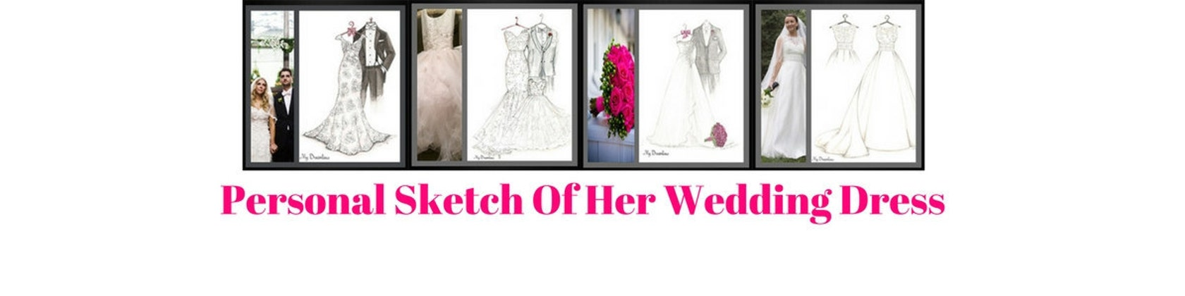 Personalized Wedding Dress Sketch Gift by Dreamlines on Etsy