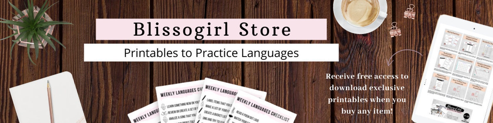 Printables To Learn and Practice Languages by Blissogirl on Etsy