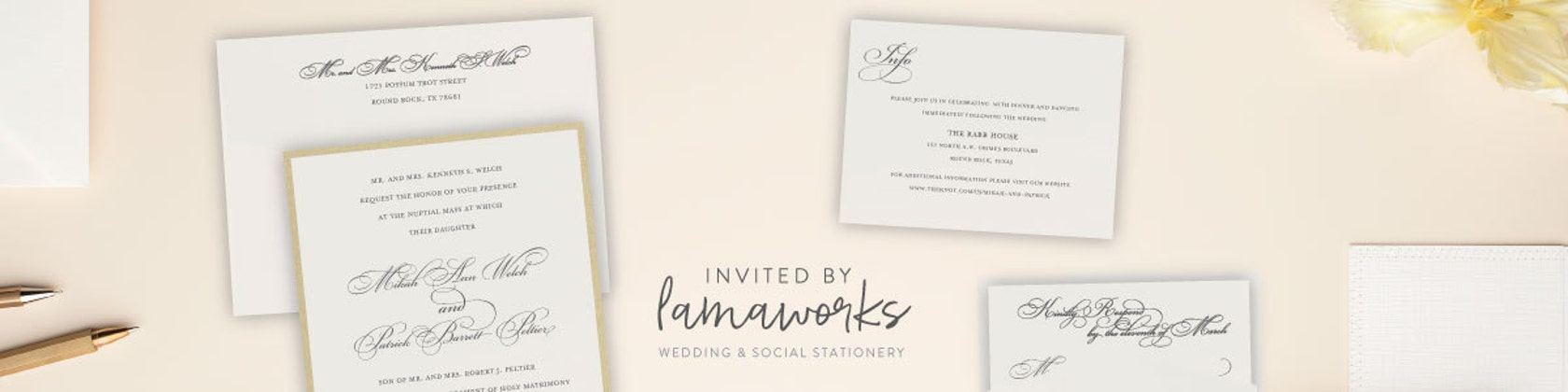 Custom Wedding Invitations & Stationery Gifts by LamaWorks on Etsy