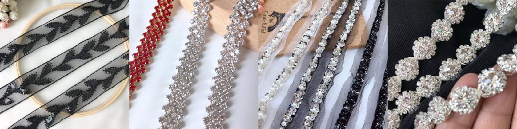 1 Yard Rhinestone Chain Bridal Trim Fringe Crystal Clear Applique Rhinestone Trim Embellish for DIY Wedding Accessories Bag Decor Flower Girl Basket Bridal Dress Belt Sash Multicolored