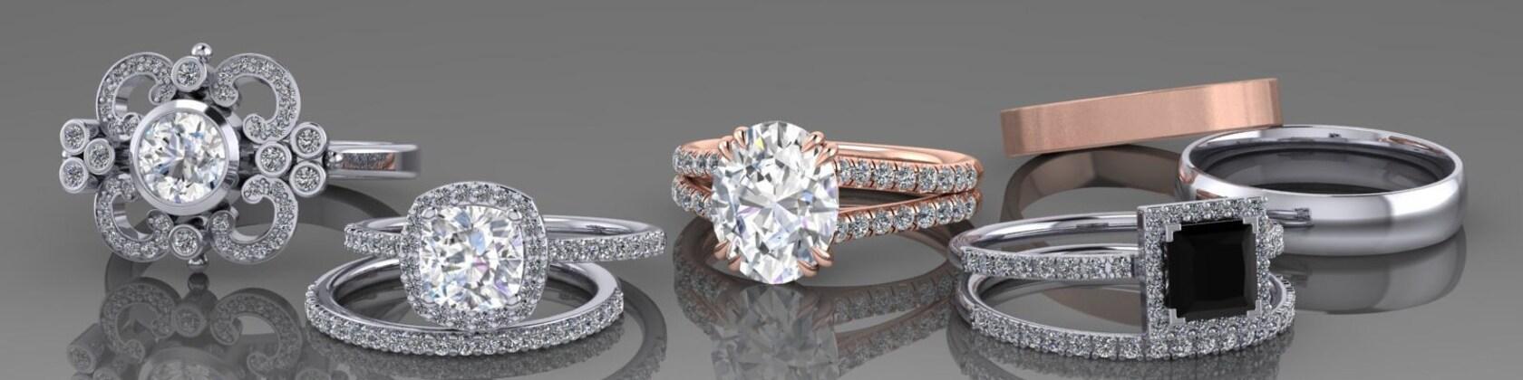 Diamond Moissanite Engagement Rings Wedding Bands von ArmanteDesign