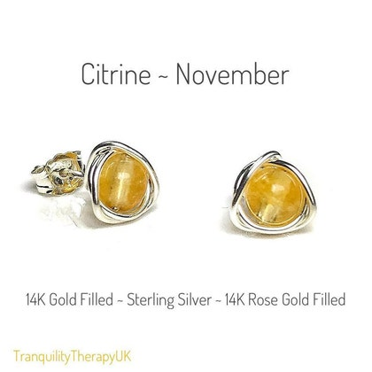 Citrine Stud Earrings Includes a Gift Box /& Card Sterling Silver High Grade AAAA Citrine November Birthstone. 14K GoldRose Gold Filled