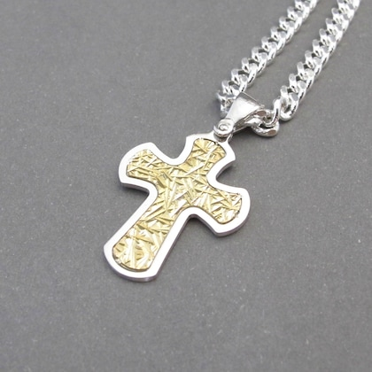 Or Argent Sterling BABY plat Crucifix Cross Charme Italien religieux Collier