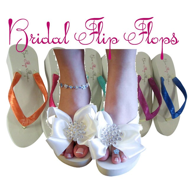 1fe987b30de98 Wedding Bridal Flip Flops for Bride   by BridalFlipFlops on Etsy