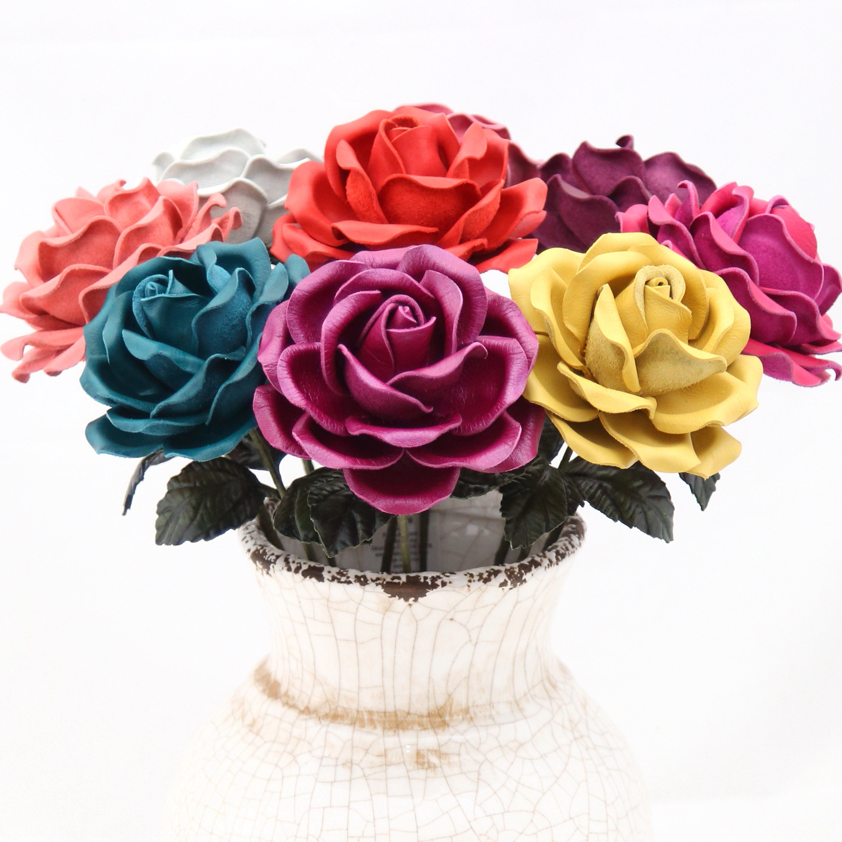 12 Leather Rose Bouquet Wedding3rd Anniversary Gift Long Stem Etsy