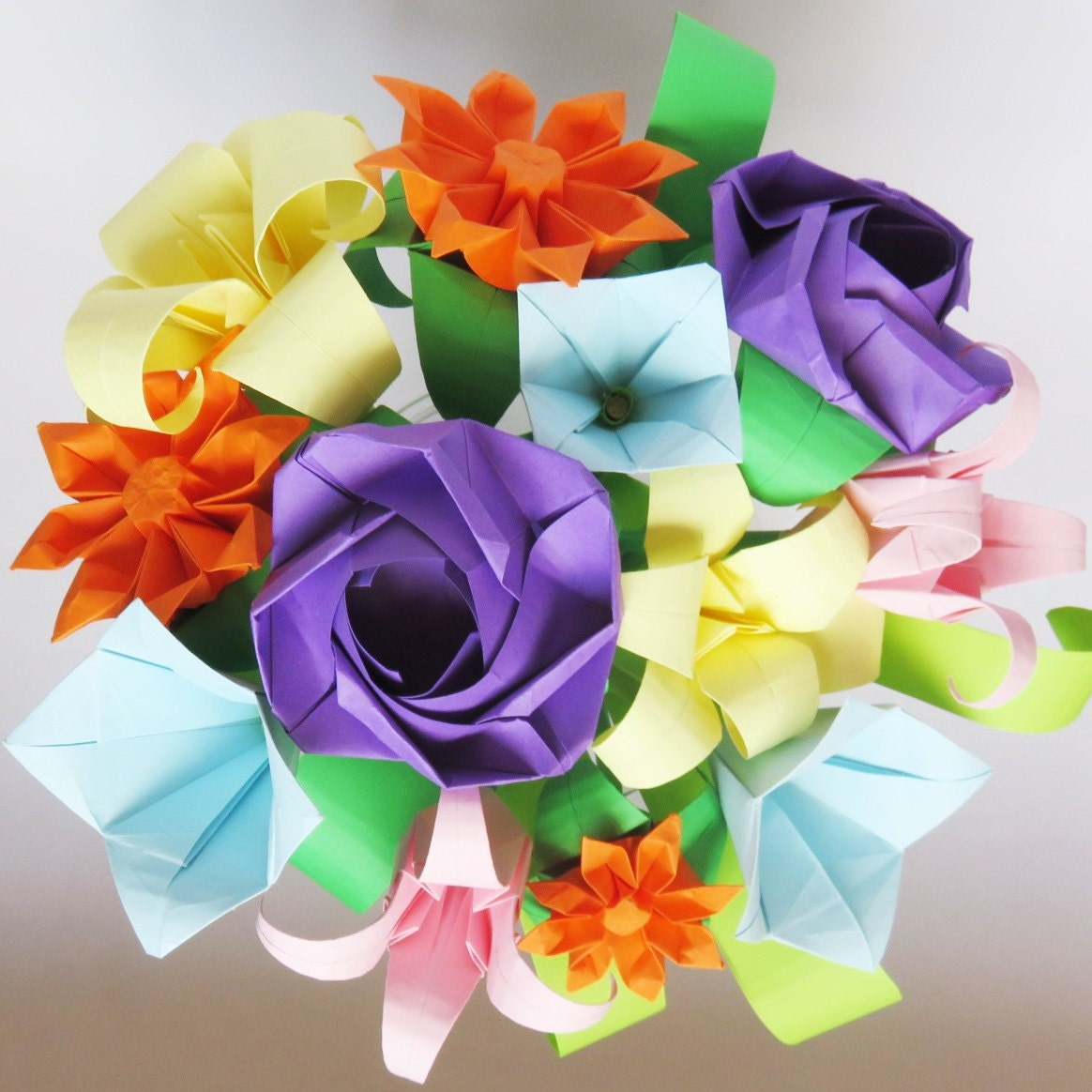 Tiny Bunch Of Colourful Origami Wild Flowers 1st Etsy