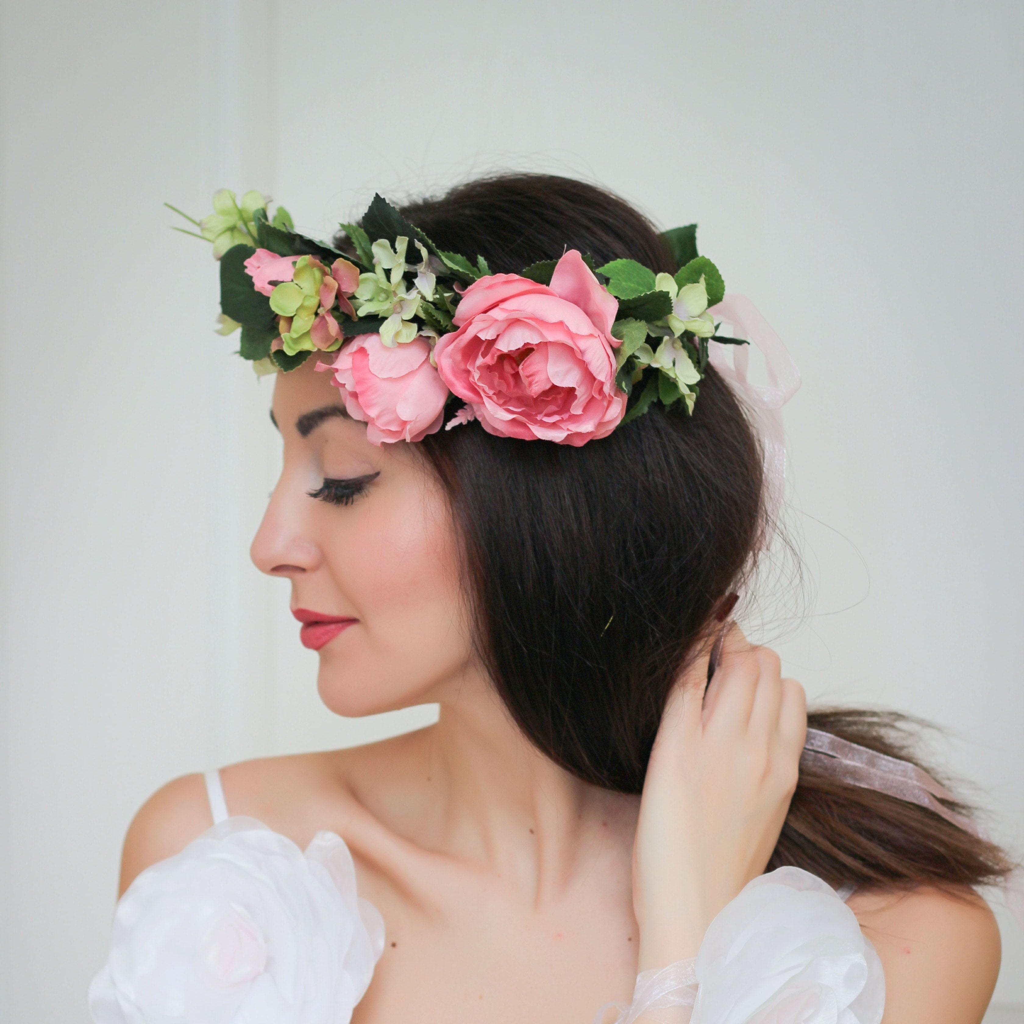 Pink Light Blue Flower Crown Floral Crown Flower Girl Crown Etsy
