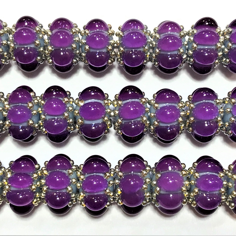 13mm range Veiled crimson purple 12 1 pair  95010-1 Tom/'s handmade lampwork transparent veiled crimson purple 2 MINI disc spacer