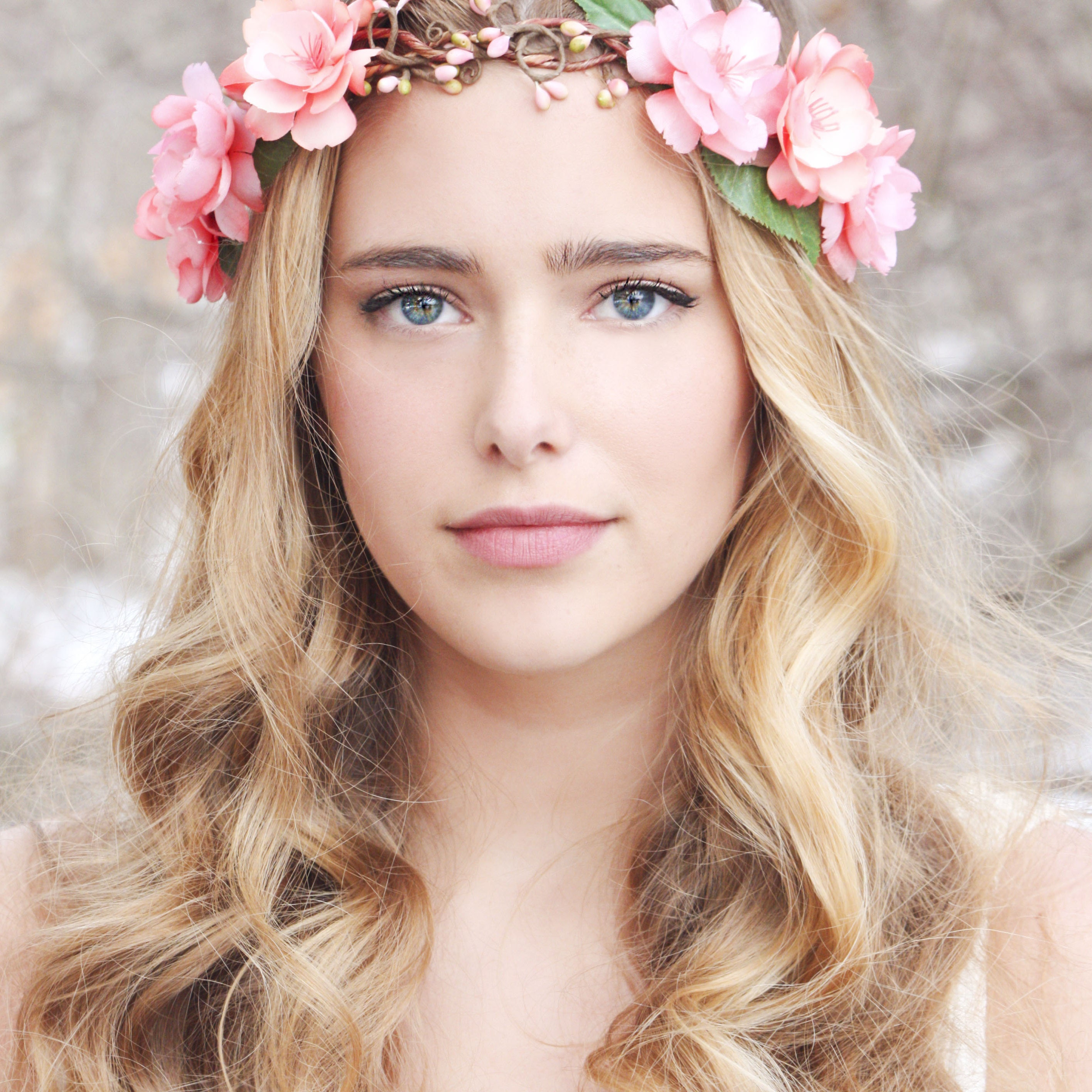 Pink Flower Crown Wedding Headpiece Flower Crown Bridal Etsy