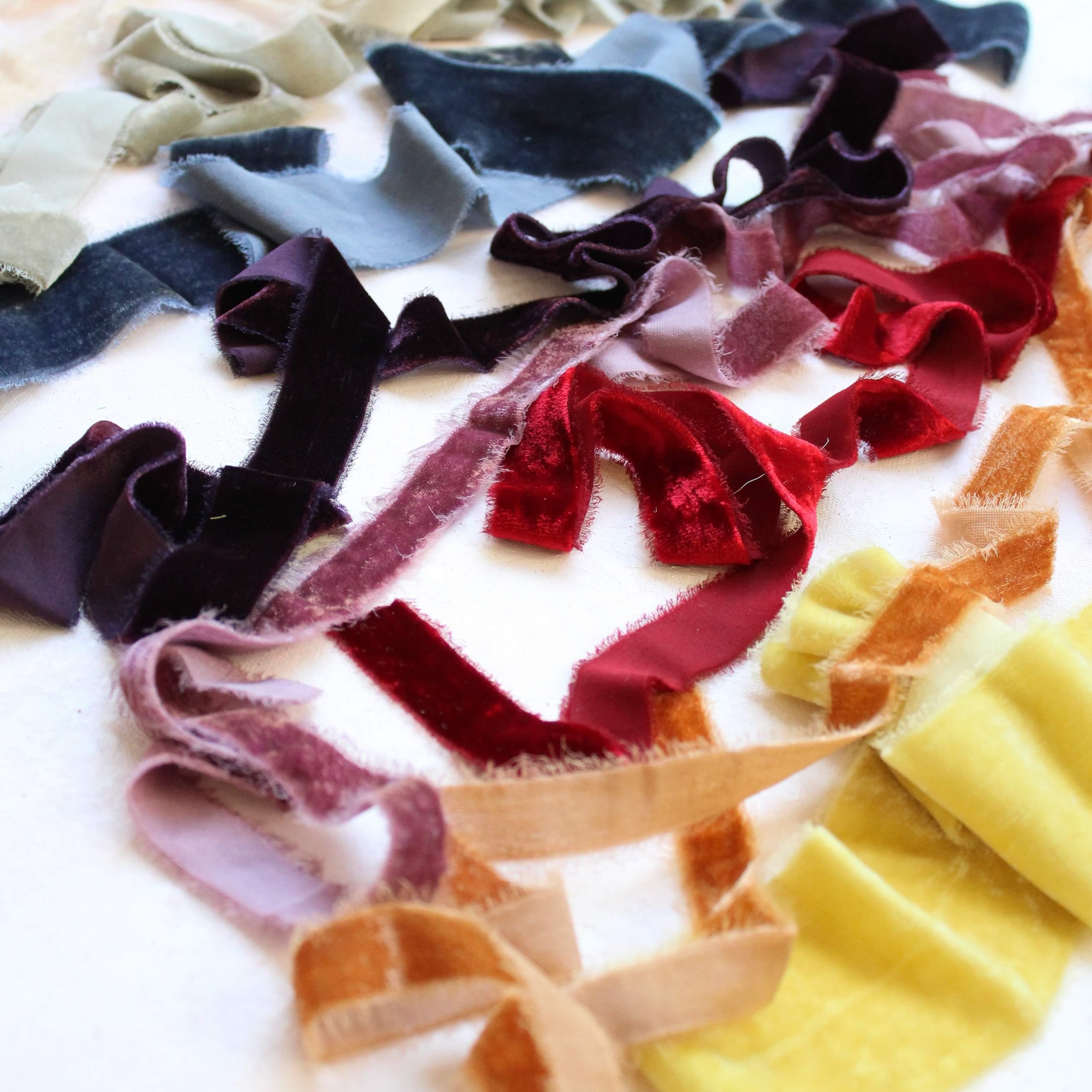 golden yellow Saffron Cotton Ribbon; 100/% Vegan Cruelty Free; Bridal Bouquet; hand dyed; hand ripped; wedding photography; curry
