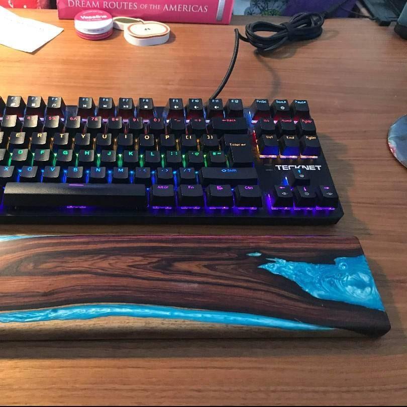 Mechanical keyboard Black Rosewood /& Alumilite resin keyboard wrist rest.