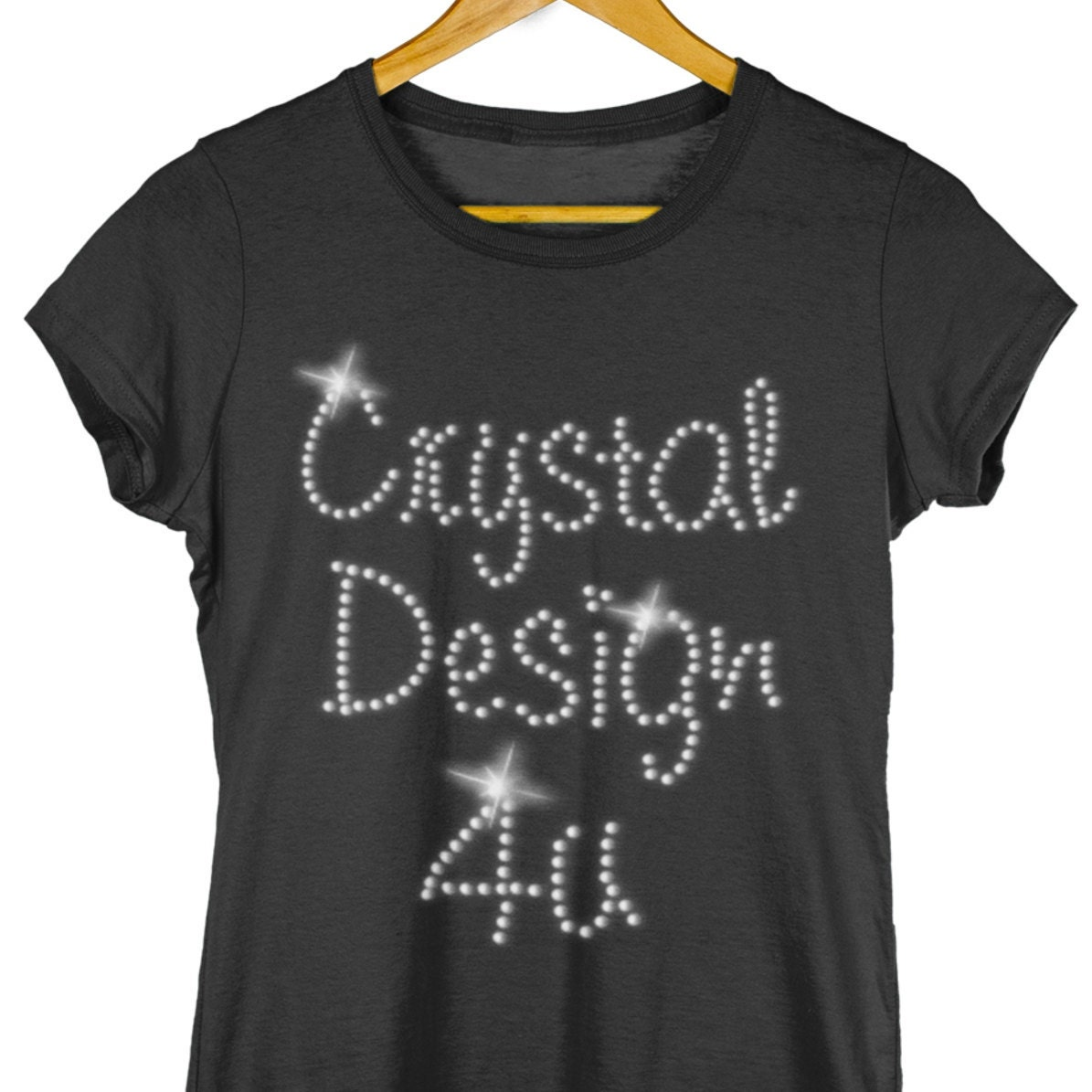 ROCK ON GUITAR DESIGN FITTED  LADIES T SHIRT WITH RHINESTUDS ANY SIZES