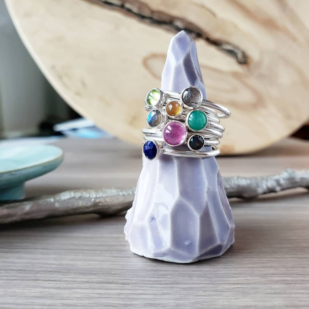 Mariage Coeur Cut Rainbow /& WHITE /& PINK Topaz Gemstone Silver Ring Taille 6 7 8 9