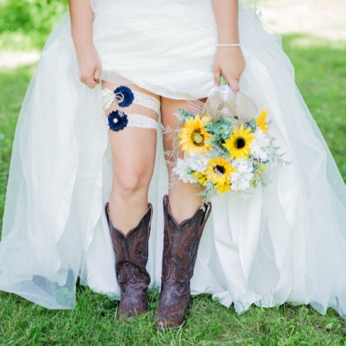 Personalized Boot Band,Bridesmaids Boot Bands,Pick Your Flower Color,Cowgirl Boot Bracelets