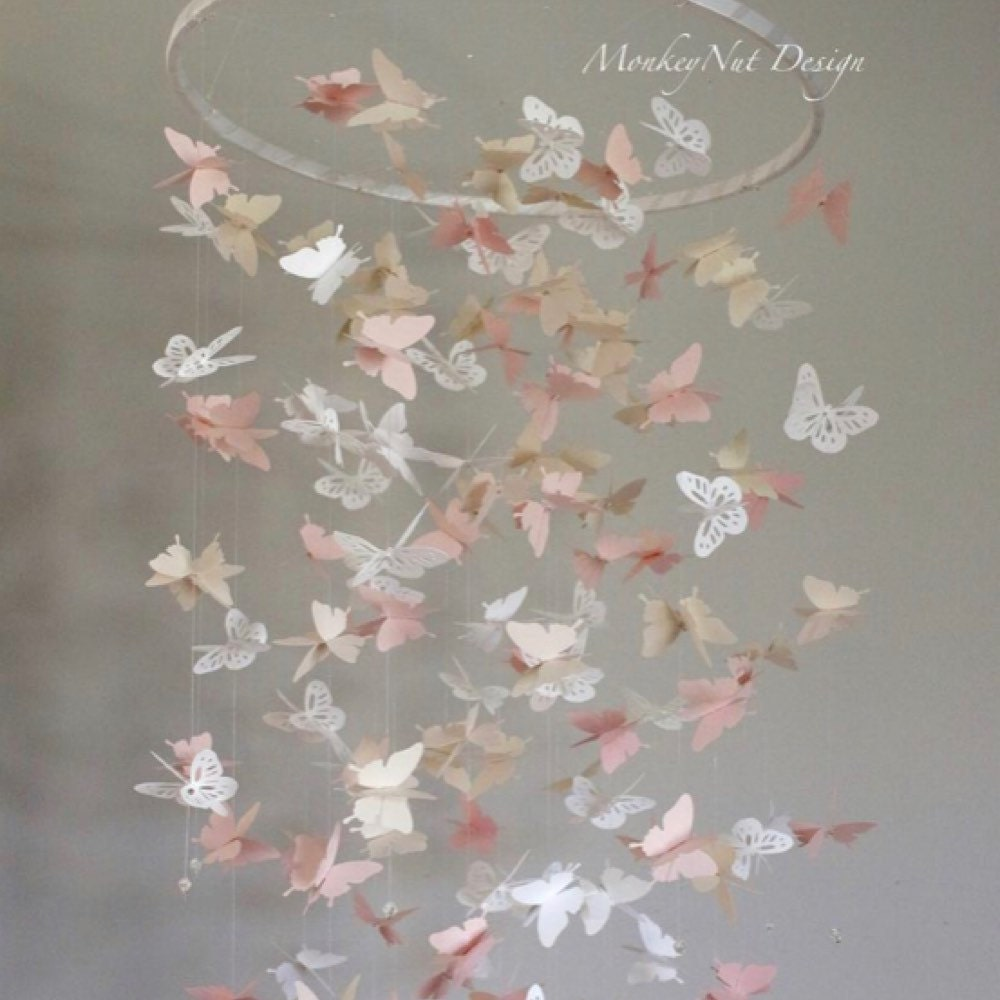 Butterfly Mobile Nursery Decor Baby Girl Room Custom Mobile White to Purple Baby Mobile with Crystal Beads Baby Shower