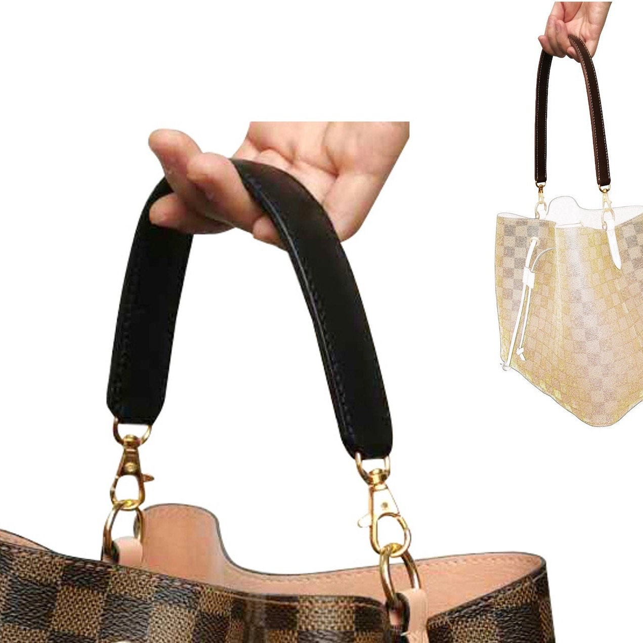 Clasps Clips Claw Convert Zip Pouch to Cross Body Bag Purse GM MM PM Neverfull Pochette Pouch Ring Hook and Gold Chain Strap