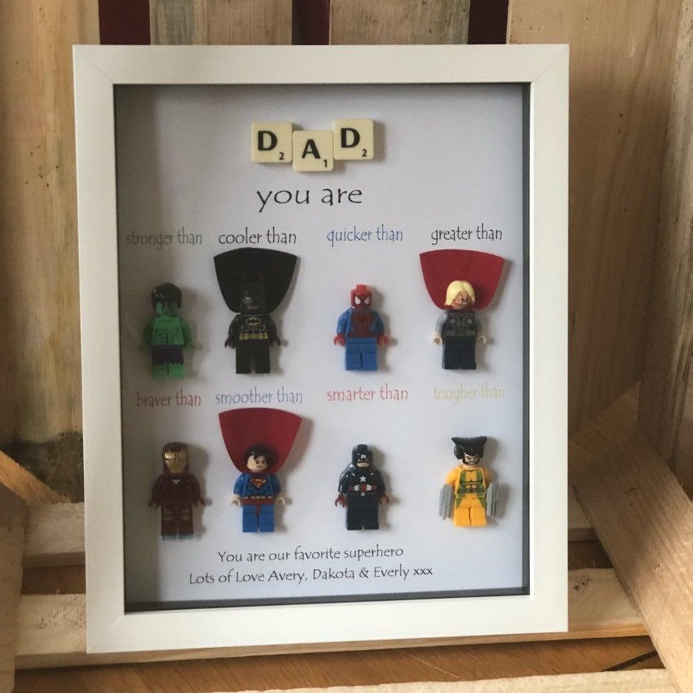 Papa Superhelden Vatertagsgeschenk personalisierte Rahmen | Etsy