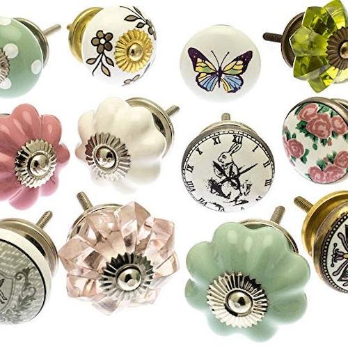 Vintage Flower Ceramic Door Knobs Cabinet Drawer Handle Set Mint Green x6