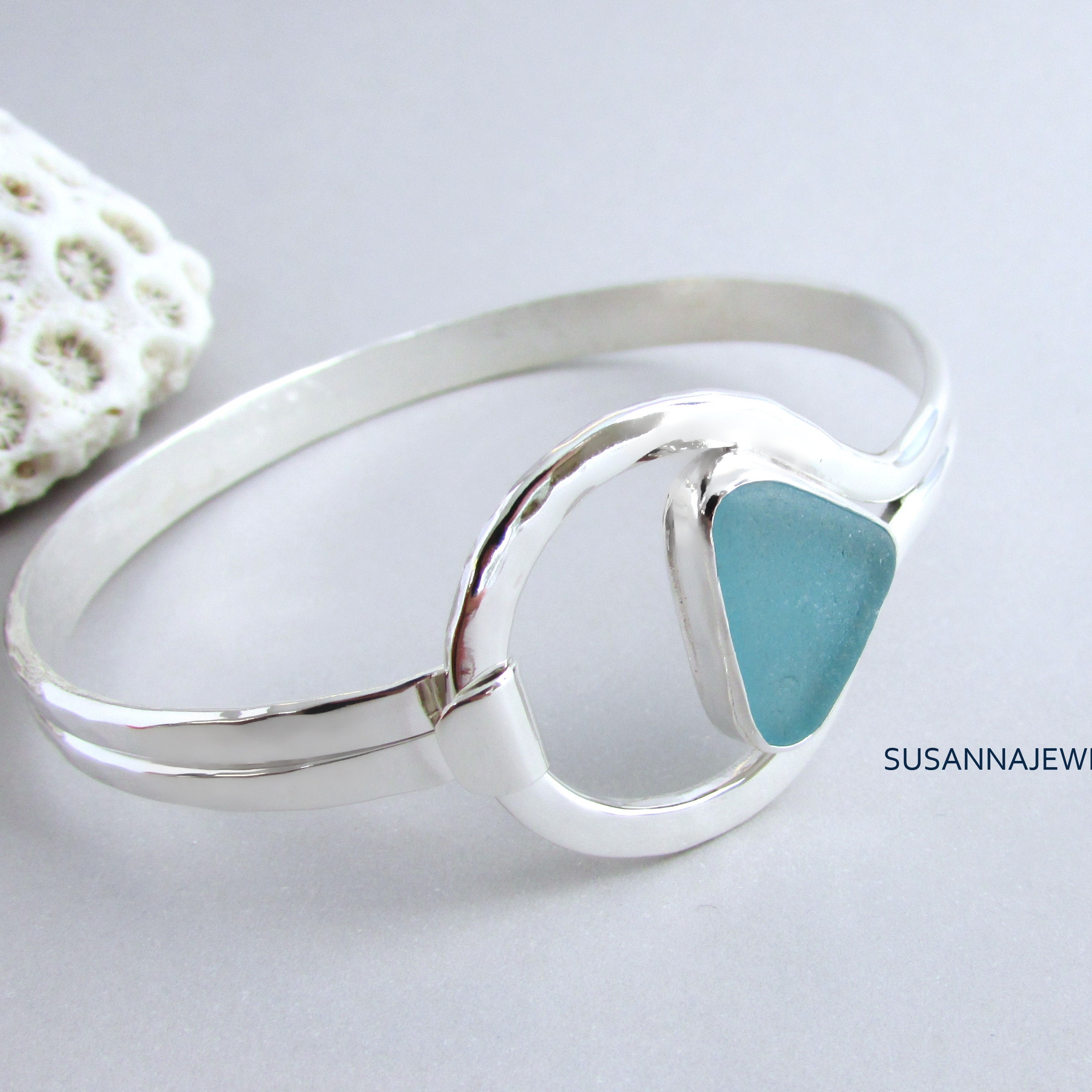 Scottish Seaglass UK Size K Or US Size 5.25 Sterling Silver Sea Glass Beach Bezel Set Mermaid Ring Deep Cobalt Blue Colour