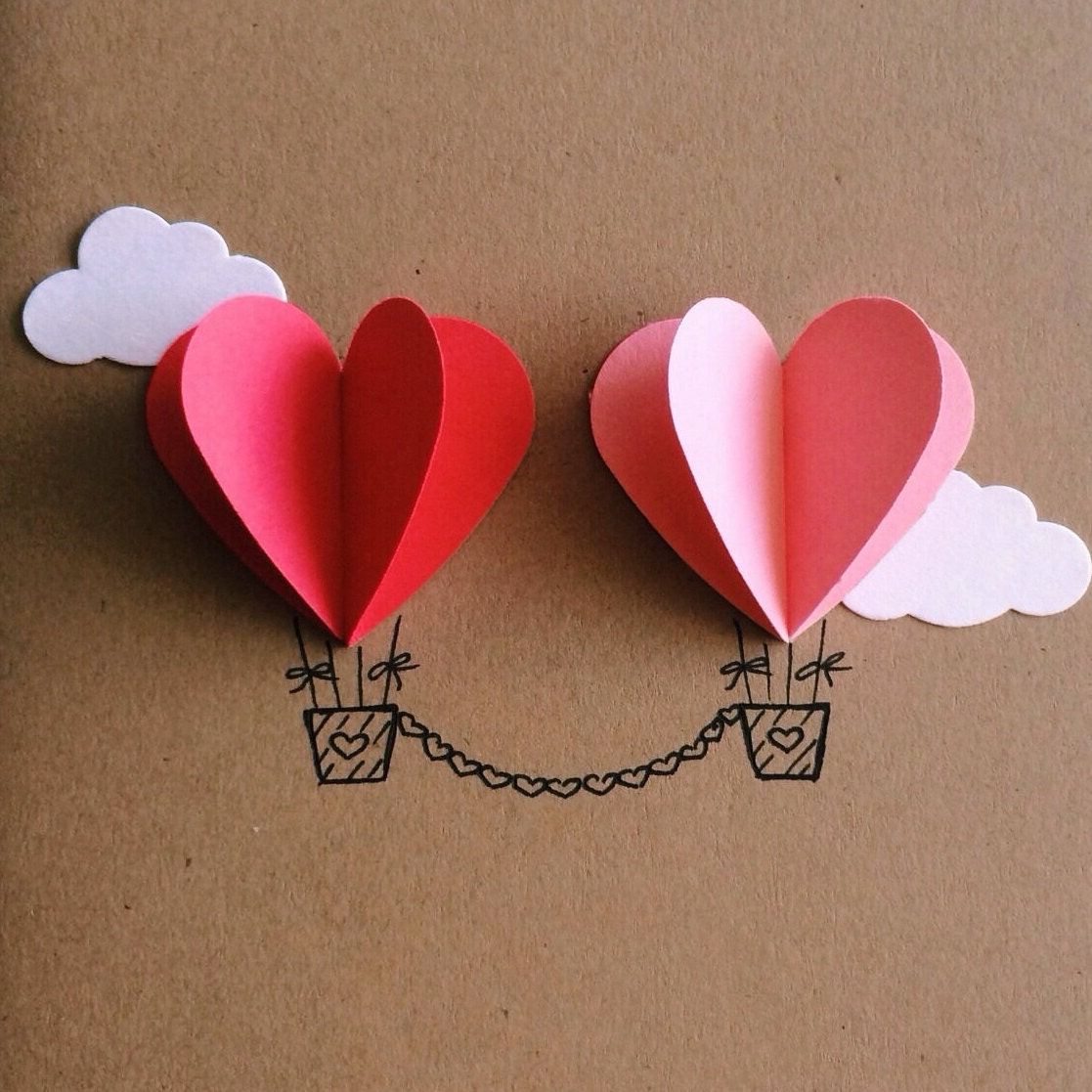Couple Heart Hot Air Balloon Card red / pink | Etsy