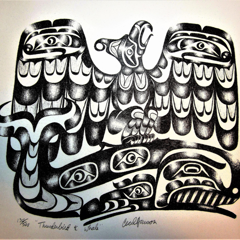 Vintage Cecil Dawson Raven Hand Painted West Coast Native Art Indian